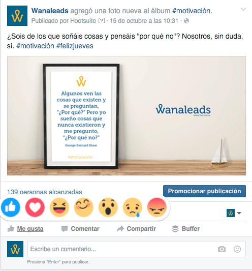 Nuevos botones Facebook - Wanaleads