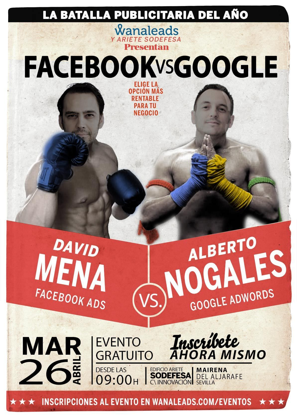 Cartel del evento Facebook VS Google