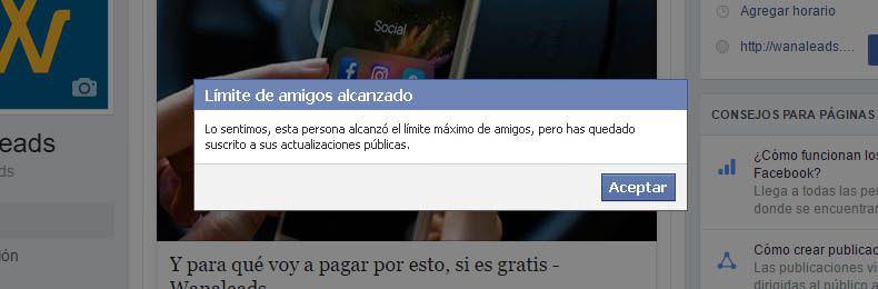 Límite amigos en Facebook