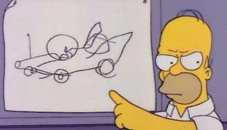 Homer Simpsons señala empeñado en el diseño de coche que tiene en mente