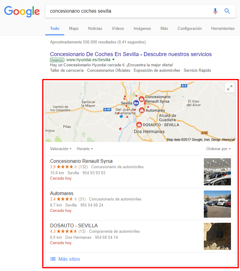 Resultados de búsqueda en Google MyBusiness