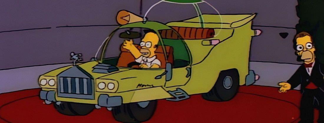 Homer Simpsons presenta un vehículo donde ha querido poner todo lo que se le ha pasado por la cabeza,