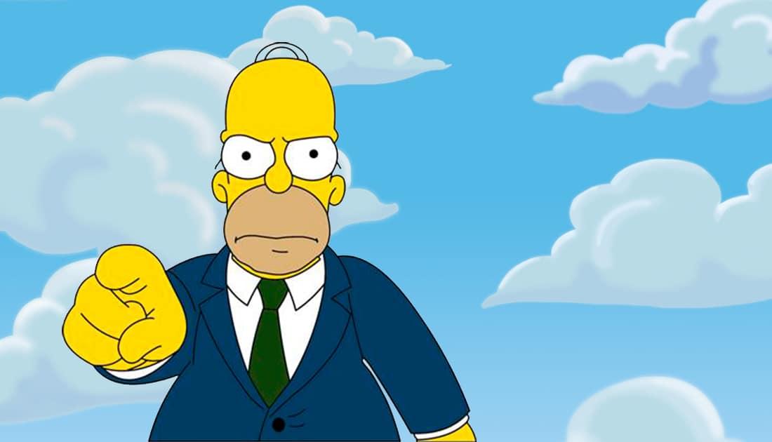 El personaje de dibujos animados Homber Simpsons te señala para que le hagas caso
