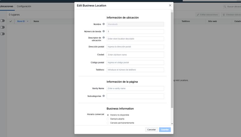 Cómo añadir distintas localizaciones en tu Fan Page