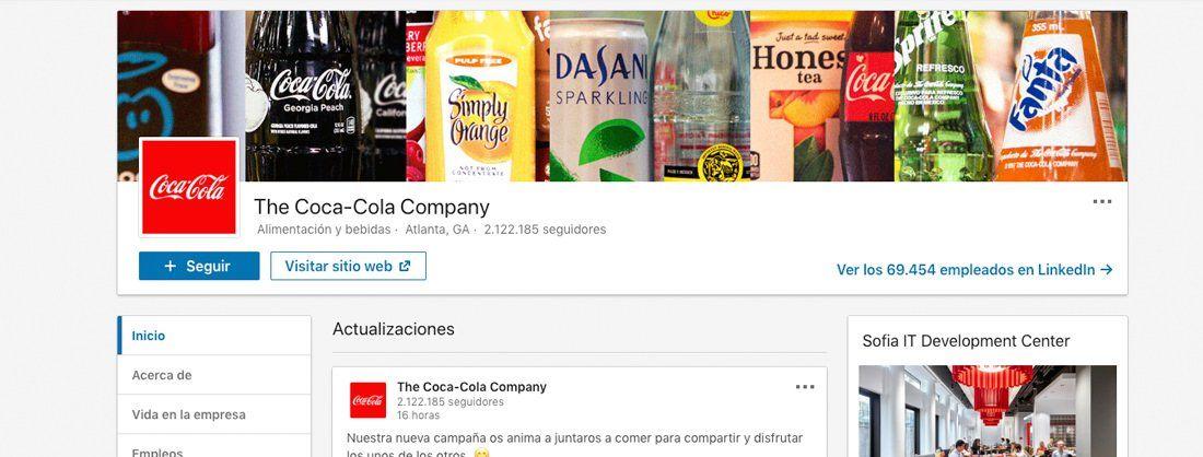 Perfil de empresa de Coca Cola en Linkedin
