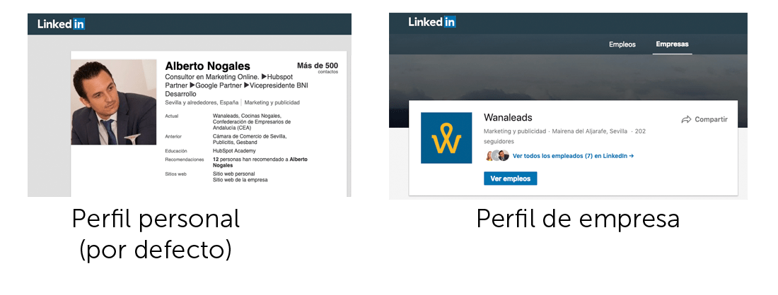 Perfiles personal y de empresa de Linkedin